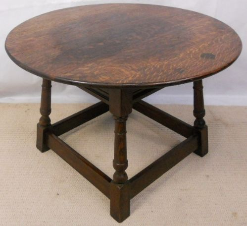 Jacobean Style Round Heavy Oak Coffee Table
